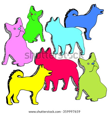 dog vector breed cute pet animal bulldog - stock vector