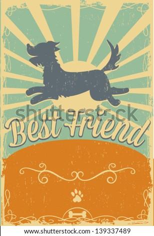 Dog vintage poster - stock vector