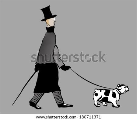 Dog walker - stock vector