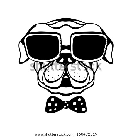 Dog with a bow and glasses isolated in black and white - vector - stock vector