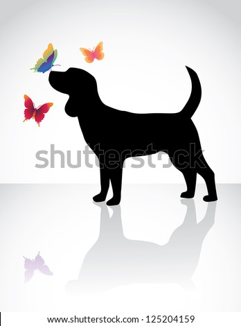 Dog with Butterflies - stock vector