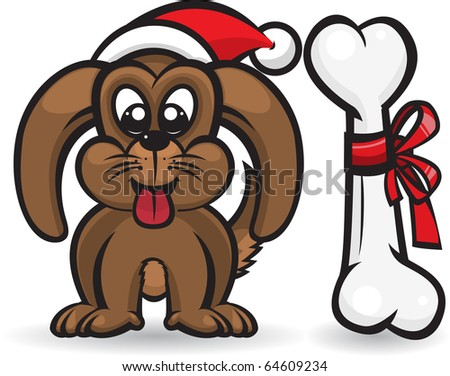 Dog with christmas bone/Dog wearing Santa hat, and bone for a gift. - stock vector