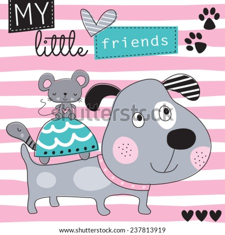 dog with mouse and turtle friends vector illustration - stock vector