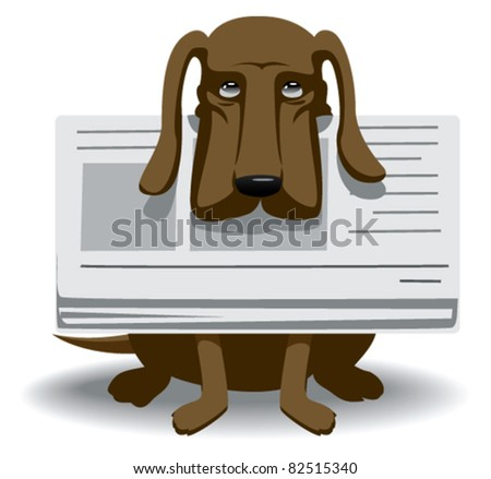 dog with newspaper in his mouth and sat looking upward - stock vector