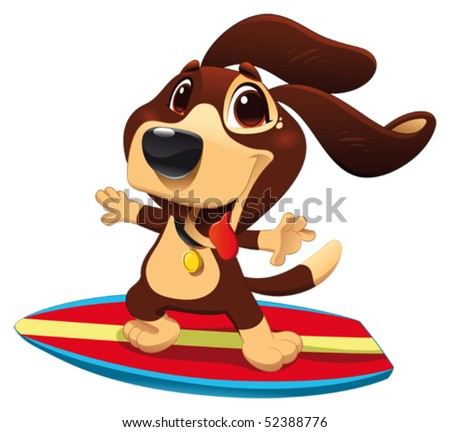 Dog with surf. Funny cartoon and vector sporty character - stock vector