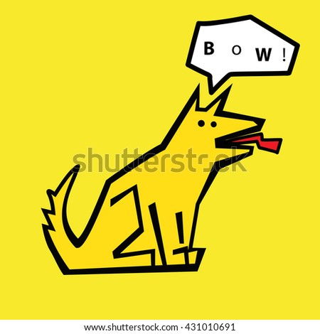 Dog with text bubble - stock vector