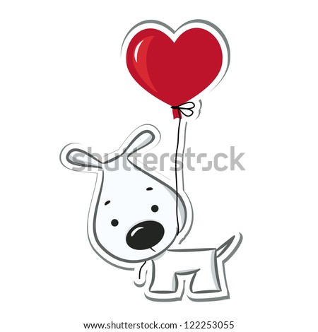 Dog with the heart balloon. Sticker. Vector illustration - stock vector