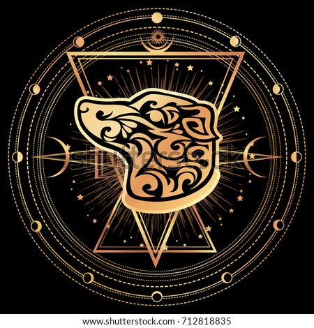 Dog. Zodiac esoteric symbol 2018 year of dog. Ethnic tribal astrology print For t-shirt, bag, postcard,and logo. Tattoo design