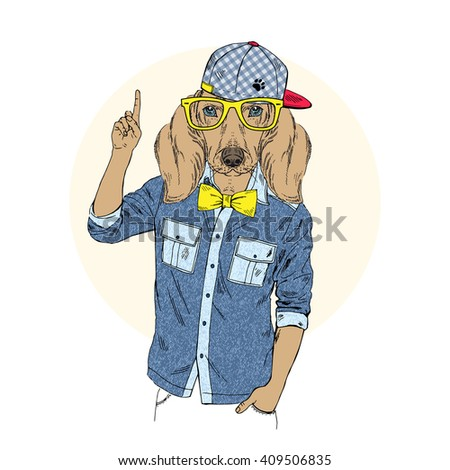 Doggy hipster point out up. Furry art illustration. Fashion animals. Hipster animals.