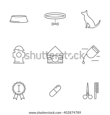 Dogs care, life Outline web icons set - stock vector