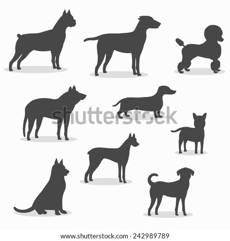 Dogs icons set of different breeds - stock vector