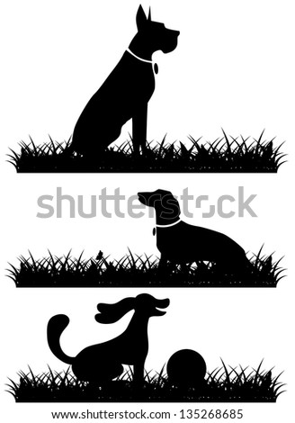 Dogs in grass silhouettes collection. EPS 8 vector, grouped for easy editing. No open shapes or paths. - stock vector