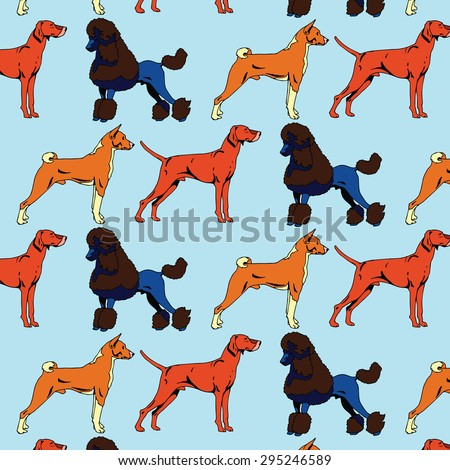 Dogs Set Pattern - stock vector
