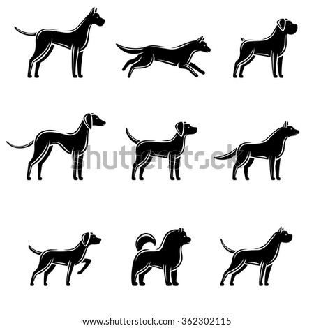 Dogs set. Vector - stock vector