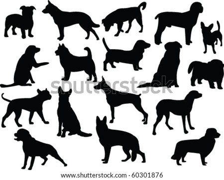dogs silhouette collection - vector - stock vector