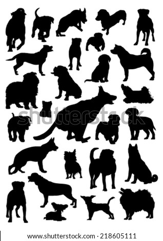 Dogs Silhouettes Set - stock vector