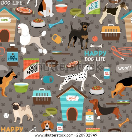 Dogs vector seamless background pattern with a german shepherd  pug  bloodhound  rottweiler  beagle  dalmation  poodle  fox terrier and pitbull with their bones  toys and dog food - stock vector