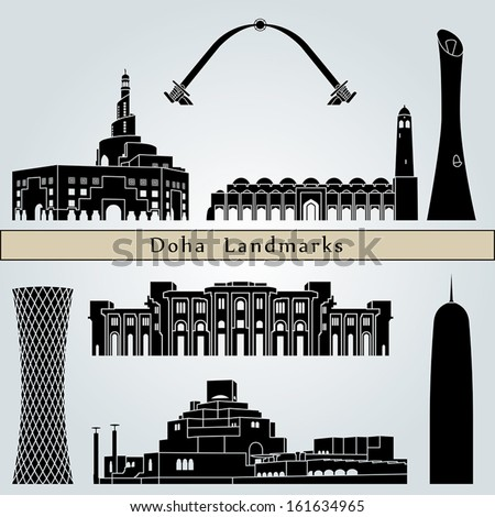 Doha landmarks and monuments isolated on blue background in editable vector file - stock vector