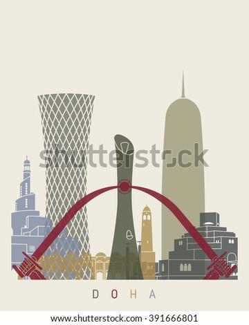 Doha skyline poster in editable vector file - stock vector
