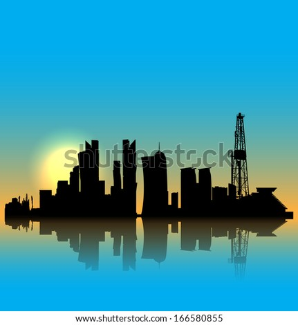 Doha vector silhouette skyline with drilling tower - stock vector