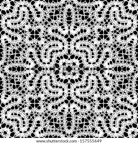 Doily / Lace ornamental, snowflake seamless background, wedding pattern, embroidery elements, vector illustration