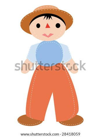 doll boy with hat in vector mode - stock vector