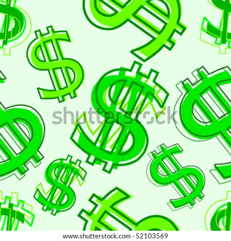 Dollar abstract seamless background. - stock vector
