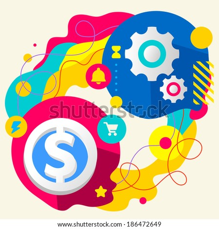 Dollar and gears on abstract colorful splashes background with different icon and elements. Internal mechanism, structure and operating principles. Flat  design for the web, print, advertising. - stock vector