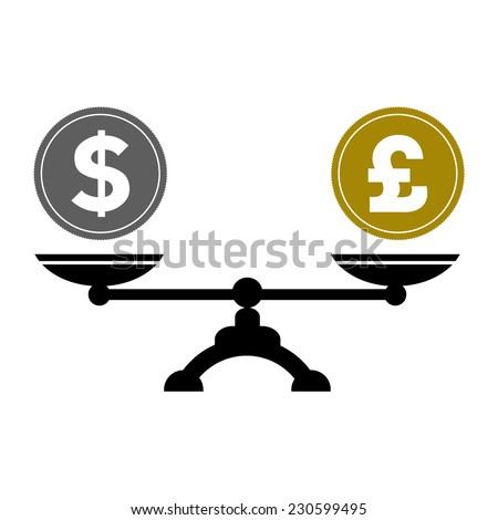 Dollar and pound scales, vector illustration - stock vector