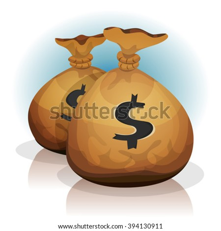 Dollar Bags/ Illustration of a pack of dollar bags, full of coins, for bank ads, business growth and credits icons in game user interface - stock vector