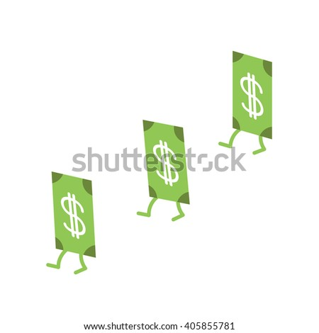 Dollar banknote going in white background. Money bill with stepping. Cute cartoon character set. Isolated. - stock vector