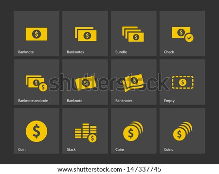 Dollar Banknote icons on gray background. Vector illustration. - stock vector