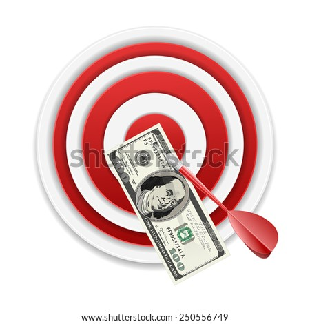 Dollar banknote in center of archery target - stock vector