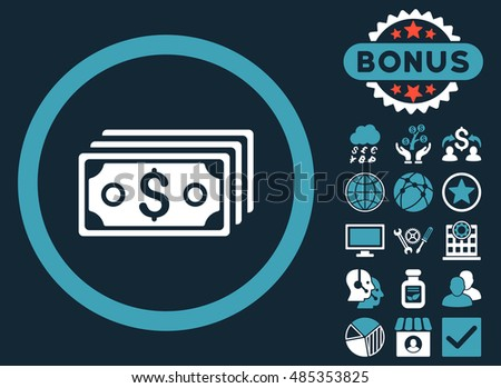 Dollar Banknotes icon with bonus pictogram. Vector illustration style is flat iconic bicolor symbols, blue and white colors, dark blue background.