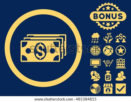 Dollar Banknotes icon with bonus symbols. Vector illustration style is flat iconic symbols, yellow color, blue background.
