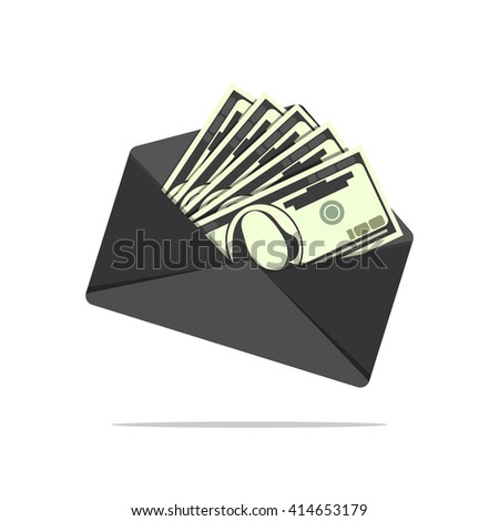 Dollar bills in envelope. Black salary. Cartoon design. Flat icon. Send money concept - stock vector