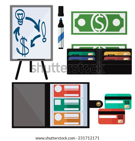Dollar bills, leather wallet, notebook, marker, tripod and credit card. Business concept tools - stock vector