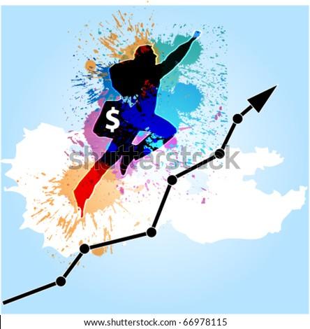 dollar chart - stock vector