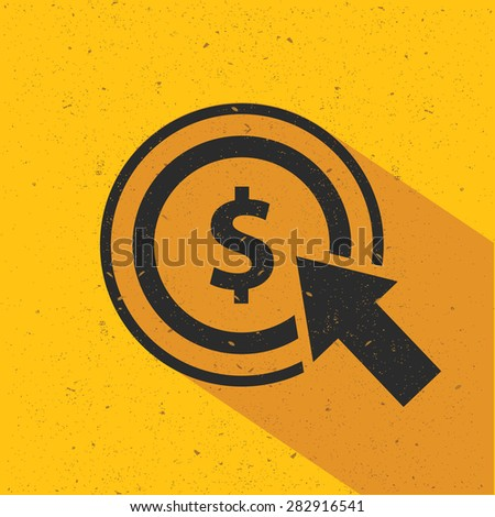 Dollar click icon design on yellow background, flat design. Clean vector. - stock vector