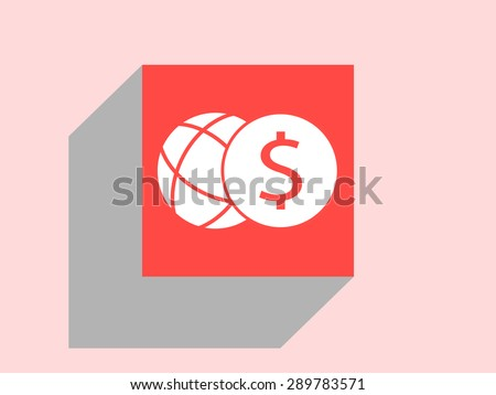 Dollar coin and globe icon. Flat design style - stock vector