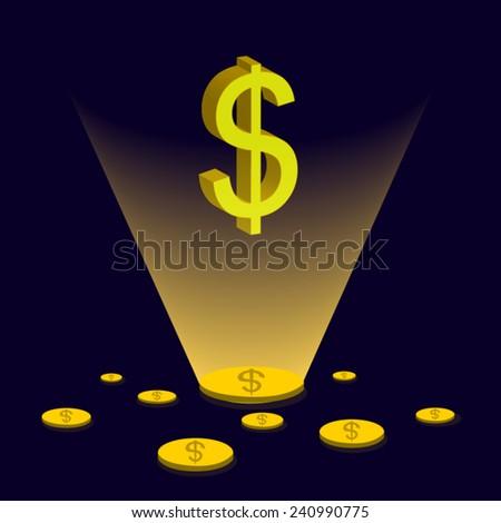 Dollar coin disperse focus Dollar sign glitter yellow light / vector graphic  - stock vector