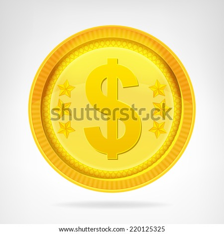 Dollar coin golden currency object isolated vector illustration