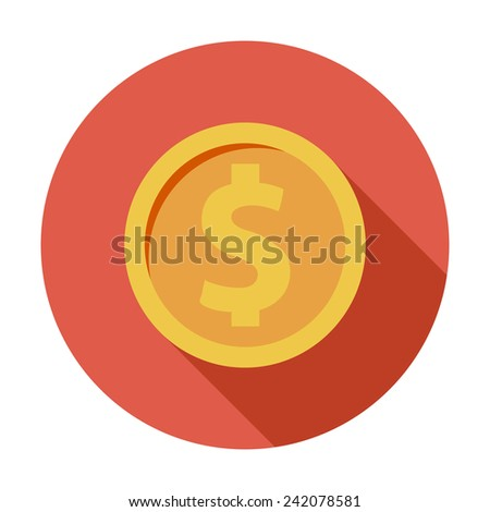 Dollar coin. Single flat color icon. Vector illustration. - stock vector