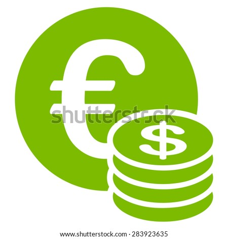 Dollar coin stack from BiColor Euro Banking Icon Set. Vector style: flat, eco green symbol, rounded angles, white background.