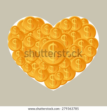Dollar coins in heart. Business growing money concept. Vector illustration - stock vector
