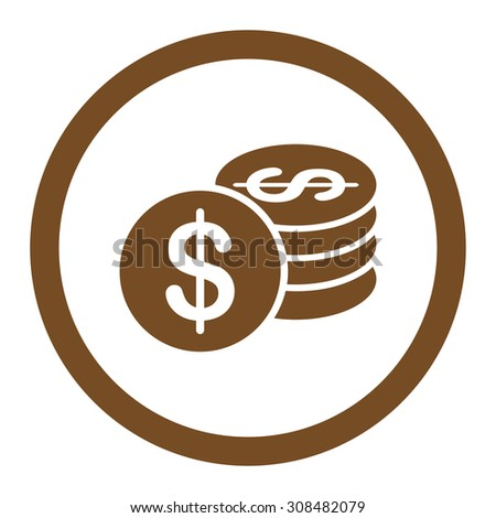 Dollar Coins vector icon. This flat rounded symbol uses brown color and isolated on a white background.