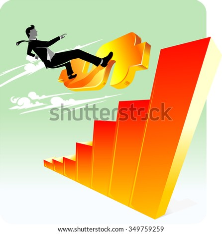 Dollar Control Graph-Abstract corporate concept of a man on surf board like currency, towards on top of graph - stock vector