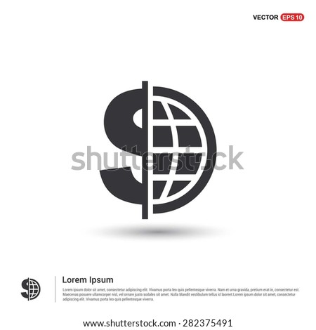 Dollar currency symbol with world globe icon - abstract logo type icon - isometric white background. Vector illustration - stock vector