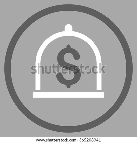 Dollar Deposit vector icon. Style is bicolor flat circled symbol, dark gray and white colors, rounded angles, silver background. - stock vector