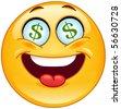 Dollar emoticon - stock vector